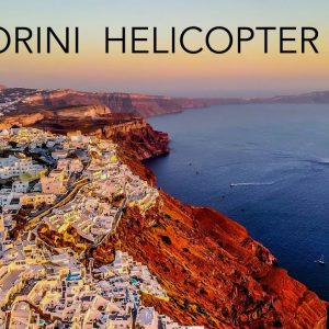 Helicopter flight over Santorini | Spectacular scenery (4K) + beautiful relaxing music